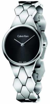 Calvin Klein Womens Snake Stainless Steel Bracelet Black Dial K6E23141