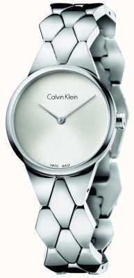 Calvin Klein Womens Snake Stainless Steel Bracelet Silver Dial K6E23146
