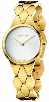 Calvin Klein Womens Snake Gold PVD Bracelet Silver Dial K6E23546