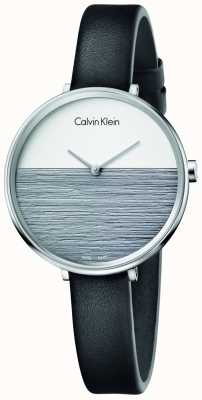 Calvin Klein Womens Rise Black Leather Strap Grey Dial K7A231C3
