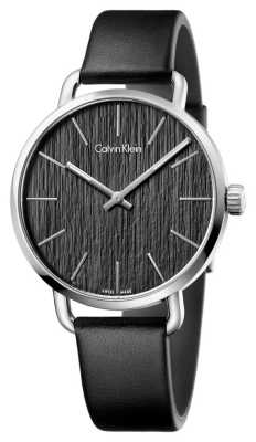 Calvin Klein Womens Even Black Leather Strap Black Dial K7B211C1