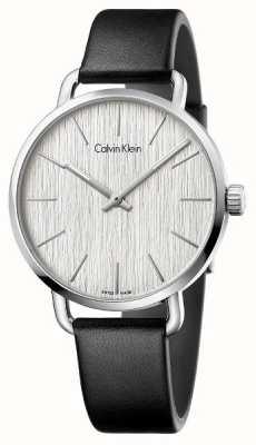 Calvin Klein Womens Even Black Leather Strap Silver Dial K7B211C6