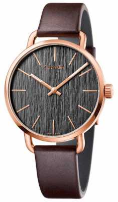 Calvin Klein Womens Even Brown Leather Strap Grey Dial K7B216G3