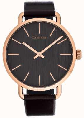 Calvin Klein Womens Even Brown Leather Strap Grey Dial K7B216G3