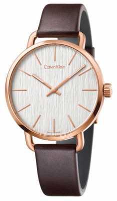 Calvin Klein FWomens Even Brown Leather Strap Silver Dial K7B216G6