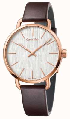 Calvin Klein Mens Even Brown Leather Strap Silver Dial K7B216G6