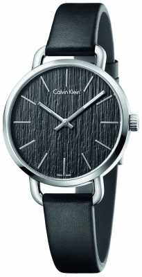 Calvin Klein Womens Even Black Leather Strap Black Dial K7B231C1