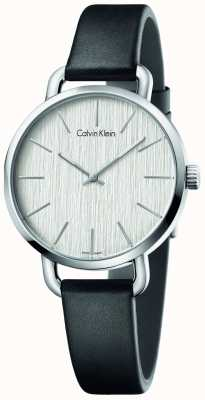 Calvin Klein Womens Even Black Leather Strap Silver Dial K7B231C6
