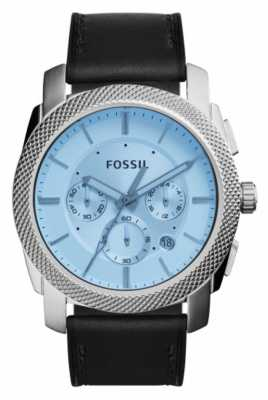 Fossil Mens Machine Chronograph Black Leather Strap FS5160