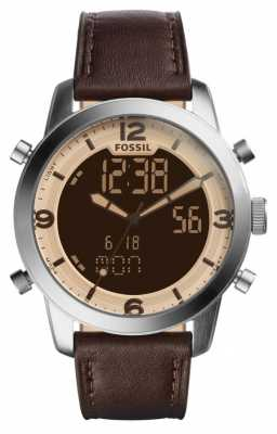 Fossil Mens Pilot 54 Brown Leather Strap FS5173