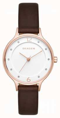 Skagen Womens Anita Brown Leather Strap White Dial SKW2472