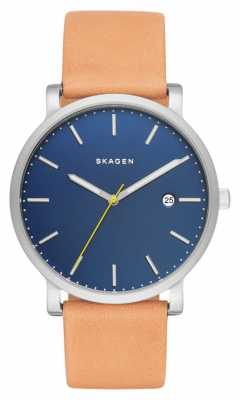 Skagen Mens Hagen Tan Leather Strap Blue Dial SKW6279