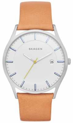 Skagen Womens Holst Tan Leather Strap White Dial SKW6282