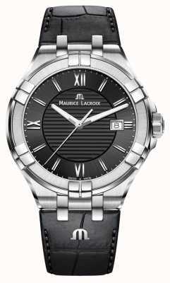 Maurice Lacroix Men's Aikon Black Leather Strap Black Dial AI1008-SS001-330-1