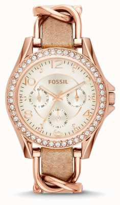 Fossil Womans White Chronograph Dial Brown Leather Strap ES3466