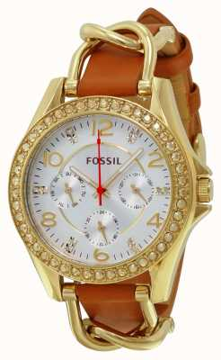 Fossil Womans Silver Chronograph Dial Brown Leather Strap Gold Case ES3723