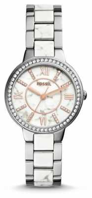 Fossil Womans White Patterned Dial Two Tone Strap ES3962