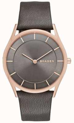 Skagen Womans Grey Dial Rose Gold Case Leather Strap SKW2346