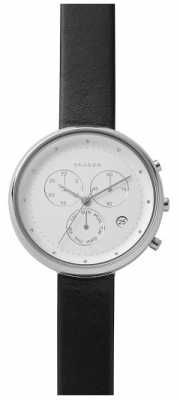 Skagen Womans Large White Chronograph Dial Black Leather Strap SKW2427