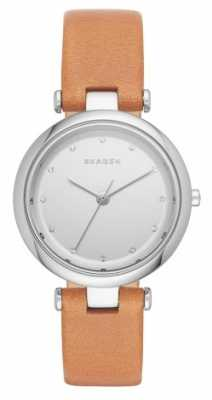 Skagen Womans Round Silver Dial Brown Leather Strap SKW2455