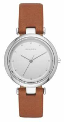 Skagen Womans Round Silver Dial Black Leather Strap SKW2458