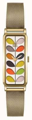 Orla Kiely Womans Patterned Dial Gold Plated Mesh Strap OK4034
