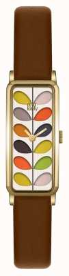 Orla Kiely Womans Patterned Dial Tan Leather Strap OK2104