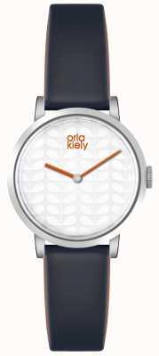 Orla Kiely Womans White Dial Dark Grey Leather Strap OK2049