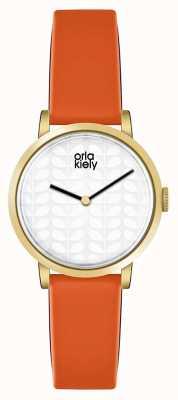 Orla Kiely Womans Cream Dial Orange Leather Strap OK2114