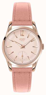 Henry London Womans Round Pink Dial Pink Leather Strap HL30-US-0154