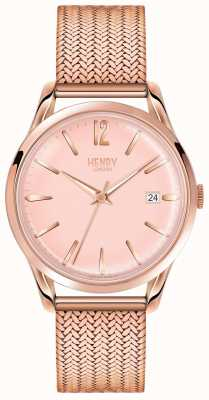 Henry London Womans Rose Gold Dial Rose Gold Plated Mesh Strap HL39-M-0166
