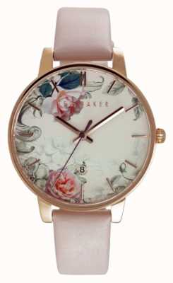 Ted Baker Womens Floral Dial Pink Leather Strap TE10030653