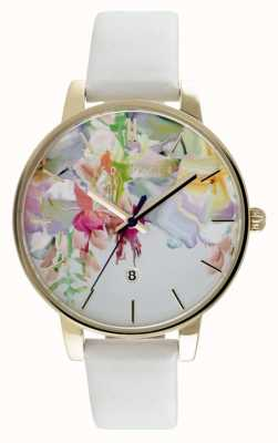 Ted Baker Womens Floral Dial White Leather Strap TE10030652