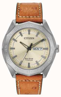 Citizen Mens Titanium Case Brown Leather Strap Champagne Dial AW0060-11P