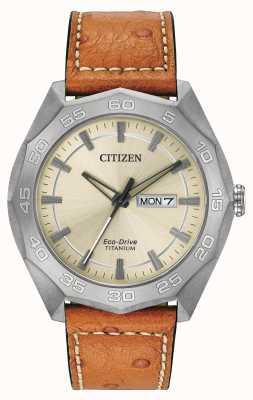 Citizen Mens Titanium Case Brown Leather Strap Champagne Dial AW0060-11P