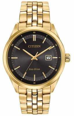 Citizen Mens Gold PVD Plated Bracelet Black Dial BM7252-51E