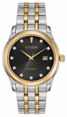 Citizen Mens 11 Diamond Two Tone Bracelet Black Dial BM7344-54E