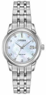 Citizen Womens 11 Diamond Stainless Steel Bracelet Mother Of Pearl EW2390-50D