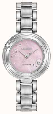 Citizen Womens Eco-Drive Six Diamonds Pink Dial WR50 EM0460-50N