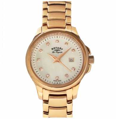 Rotary Womans Rose Gold Plated Strap Pearl Dial LB90120/41