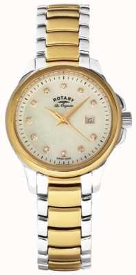 Rotary Womans Two Tone Strap Pearl Dial LB90118/41