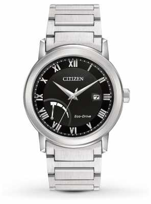 Citizen Mens Bracelet Black Dial Eco-Drive Power Reserve AW7020-51E
