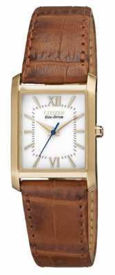 Citizen Womens Eco-Drive Tan Strap Gold Plated Case EP5918-06A