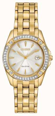 Citizen Womens Eco-Drive Silhouette Crystal Set Gold Plated EW2352-59P