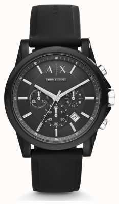 Armani Exchange Mens Black Silicone Strap Black Chronograph Dial AX1326