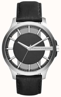 Armani Exchange Mens Black Leather Strap Black Dial Silver Case AX2186