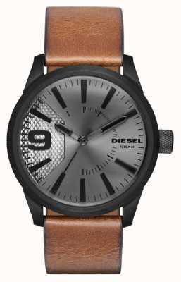 Diesel Mens Brown Leather Strap Silver Dial Black Case DZ1764