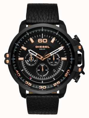Diesel Mens Black Leather Strap Black Chronograph Dial Black Case DZ4409