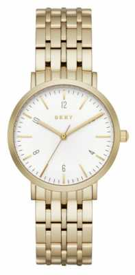 DKNY Womans Stainless Steel Gold Mesh Strap Round White Dial NY2503