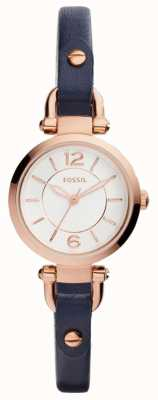 Fossil Womans Slim Blue Leather Strap Rose Gold Plated Case ES4026